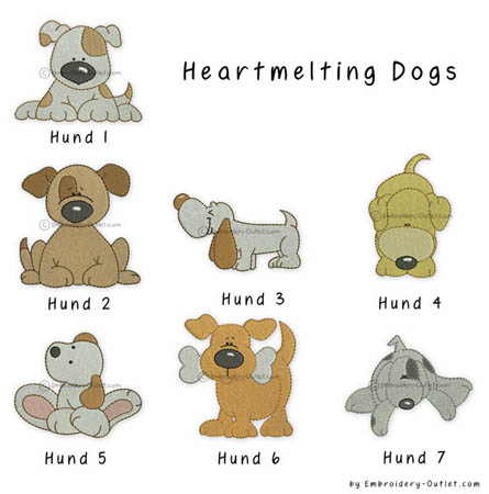 Heartmelting Dogs Stickdatei